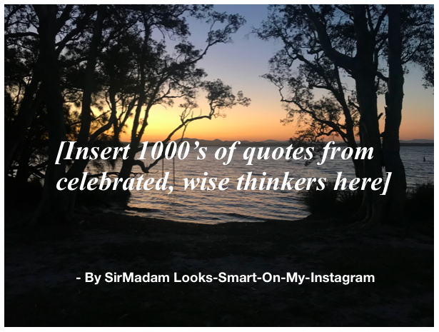 Text: [Insert 1000's of quotes from celebrated, wise thinkers here] By SirMadam Looks-Smart-On-My-Instagram, on sunset background framed by trees and water.