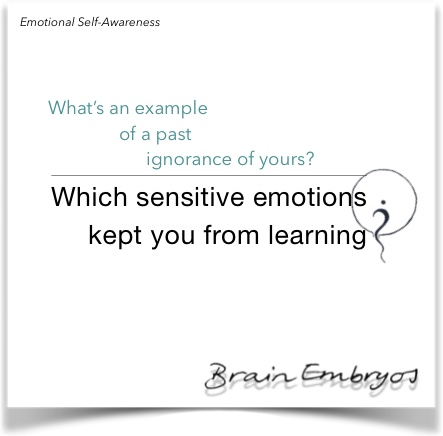 What's an example of a past ignorance of yours? Which sensitive emotions kept you from learning?