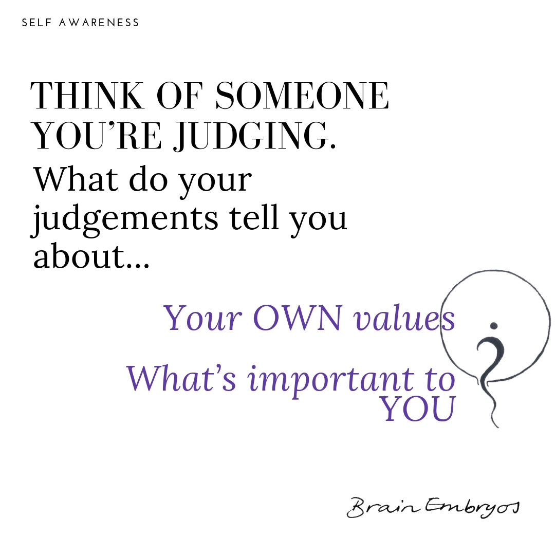 Think of someone you're judging. What do your judgements tell you about... Your own values? What's Important to you?