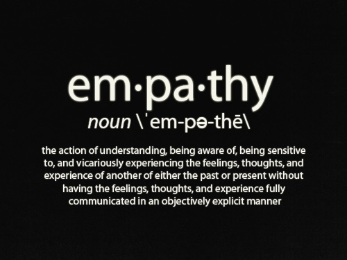 empathy. Noun. The action of understanding, being aware of, being sensitive to, and vicariously experiencing the feelings, thoughts, and experience of another of either the past or present without having the feelings, thoughts and experience fully communicated in an objectively explicit manner.